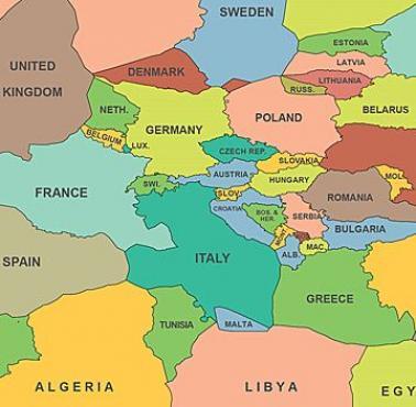Mapa Polityczna Europy Uwzgledniajaca Wody Terytorialne Panstw