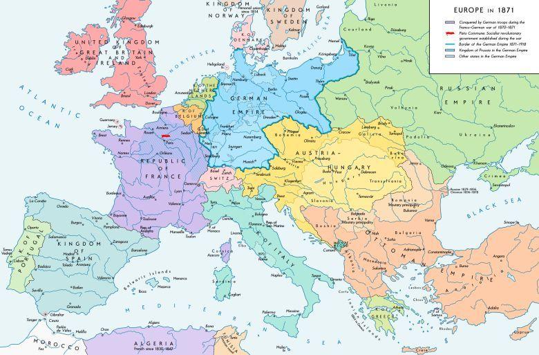 Mapa Europy Z 1871 Roku
