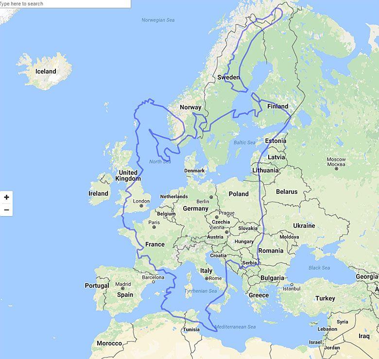 Mapa Europejskiej Czesci Rosji Naniesiona Na Pozostala Czesc Europy