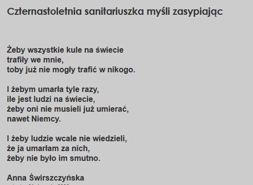 Powstańczy Wiersz Sanitariuszki Ak Anny świrszczyńskiej