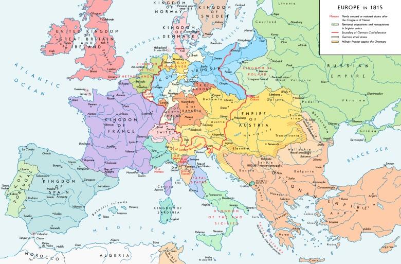 Mapa Europy Po Kongresie Wiedenskim W 1815 Roku
