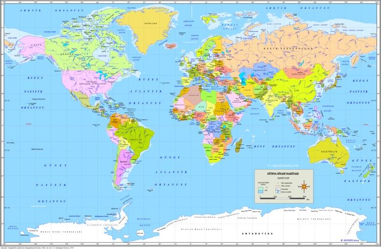 Mapa Swiata Z Tureckimi Nazwami Panstw